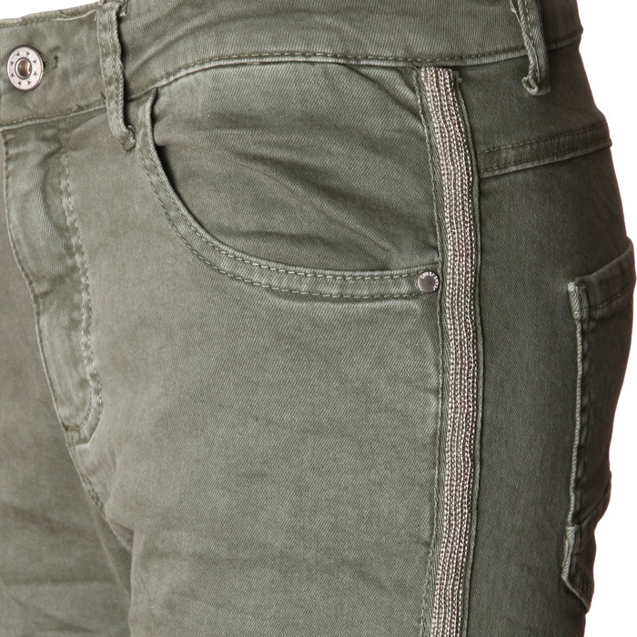 3b3083f771fc44 ... BASIC.de Damen-Hose Skinny mit Kontraststreifen aus Metall-Perlen MELLY    CO