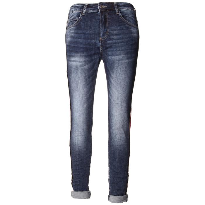5fb408c5195b98 BASIC.de Damen-Jeans mit breitem seitlichem Kontraststreifen Rot MELLY CO  7090 ...