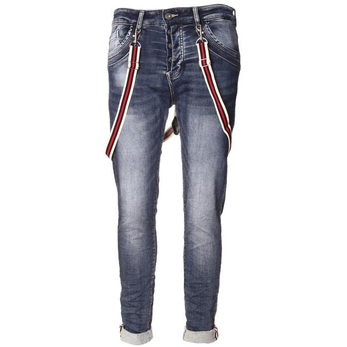 Damen Jeans mit verdeckter Knopfleiste und Hosenträger MELLY CO 7089